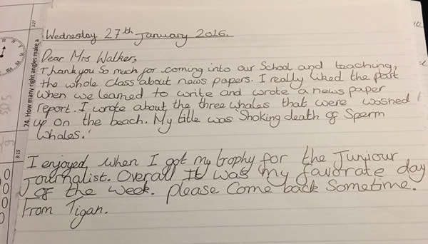 Primary children wrote 'thank you' letters!